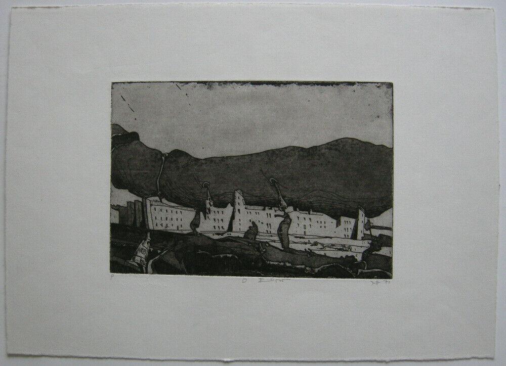 Horst Janssen (1929-1995) Spanische Stadt Orig Radierung 1971 monogr. Probedruck