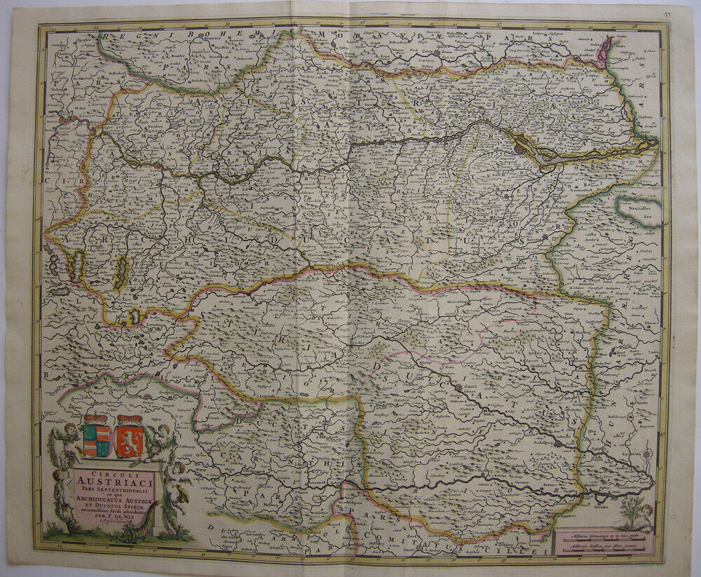 Steiermark Erzherzogtum kolor Orig Kupferstichkarte de Wit 1690 Österreich