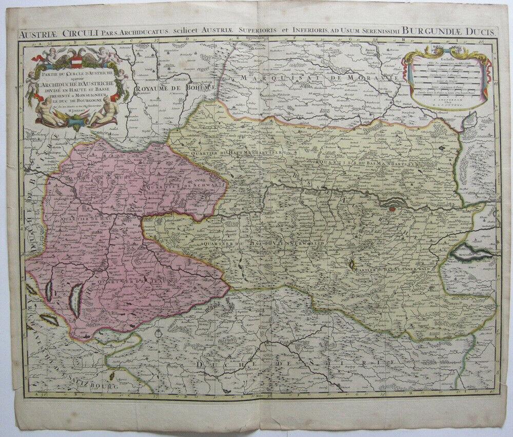 Oberösterreich Wien kolor Orig Kupferstich Jaillot 1700  Österreich