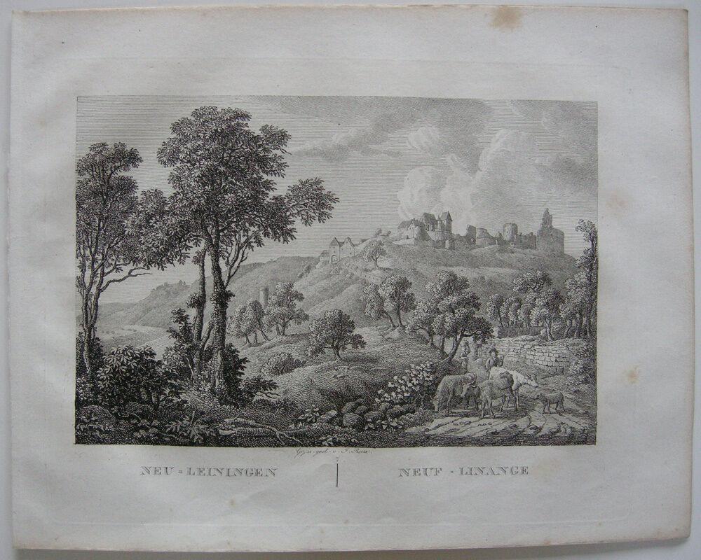 Neu-Leinigen Wachenheim Ansicht Orig Kupferstich J. Roux 1822 Rheinland Pfalz