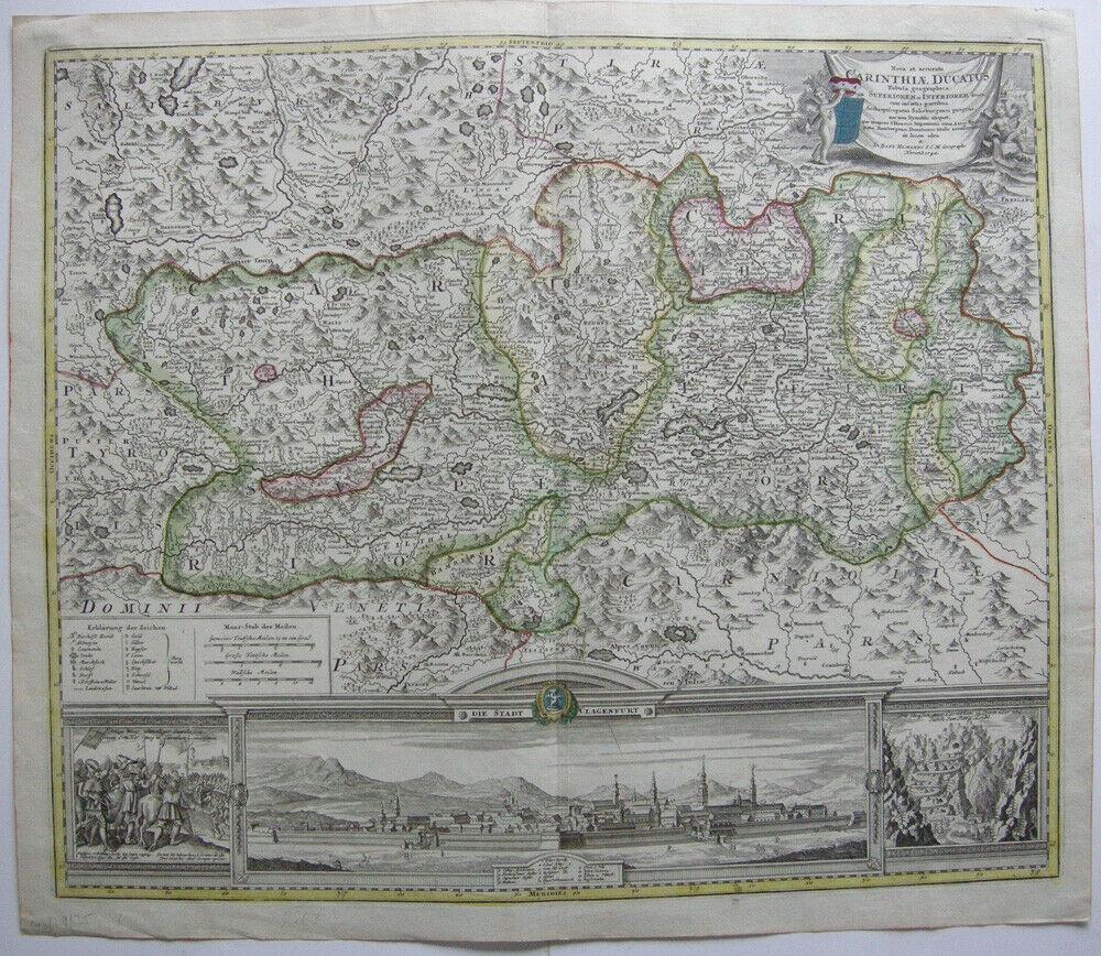 Herzogtum Kärnten Orig Kupferstich Homann 1720 Ansicht Klagenfurt  Österreich