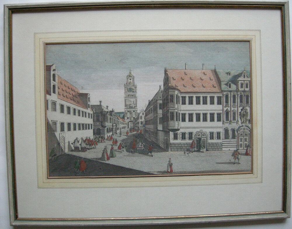 Guckkastenblatt Augsburg Dom-Platz Frauentor Kupferstich Remshart 1750 Probst