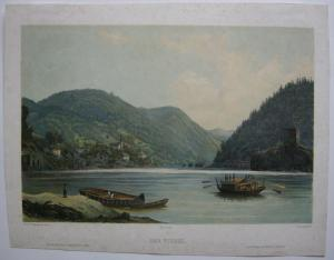 Der Wirbel Donauwirbel Donaureise Niederösterreich kol Lithografie Sandmann 1850