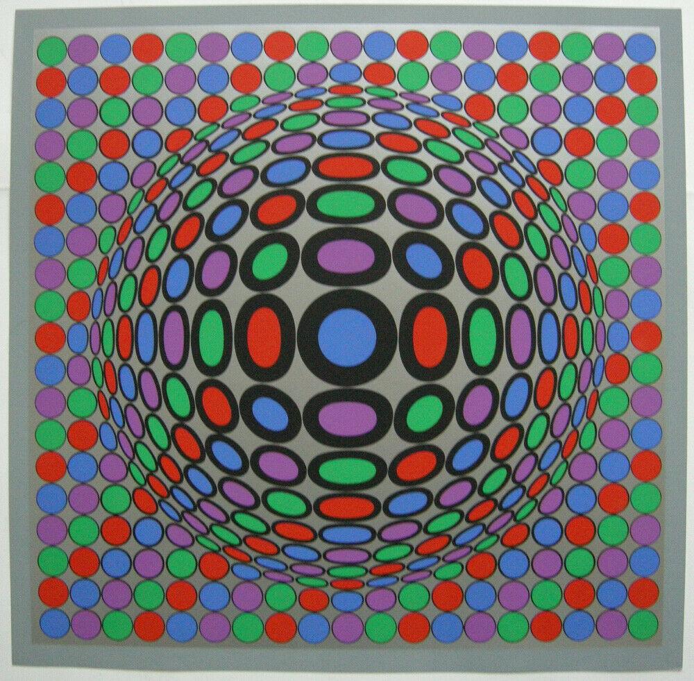 Victor Vasarely (1906-1997) Spiel mit Kreisen Orig Serigrafie 1969 0