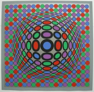 Victor Vasarely (1906-1997) Spiel mit Kreisen Orig Serigrafie 1969