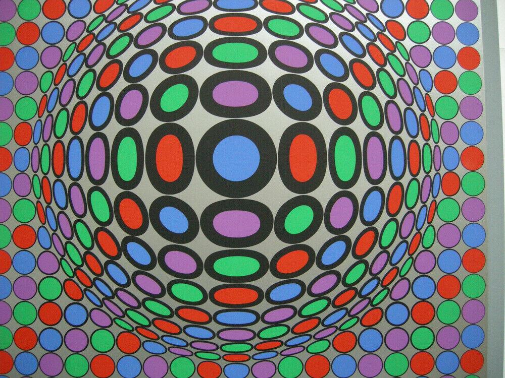 Victor Vasarely (1906-1997) Spiel mit Kreisen Orig Serigrafie 1969 1
