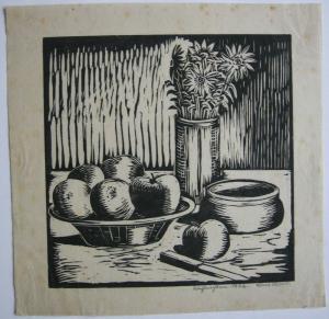 Blumen- und Obststilleben Orig Holzschnitt 1932 signiert Sami Seibold
