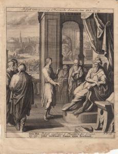 Joseph deutet Traum des Pharao Genesis Bibel Orig Kupferstich 1710