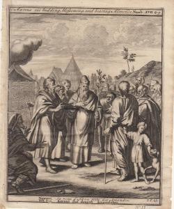 Aarons Stab trägt Mandeln Numeri Bibel Orig Kupferstich 1710