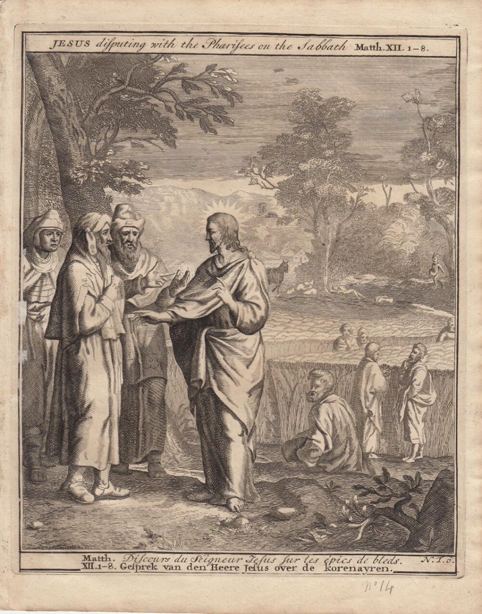 Jesus disputiert mit den Pharisäern Bibel Orig Kupferstich 1710 0