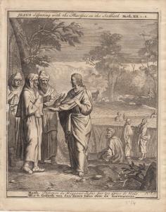Jesus disputiert mit den Pharisäern Bibel Orig Kupferstich 1710