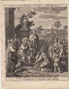 Lasset die Kindlein zu mir kommen Marcus Bibel Orig Kupferstich 1710