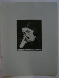 Felix Vallotton (1865-1925) Portrait Robert Schumann Orig Holzschnitt 1896