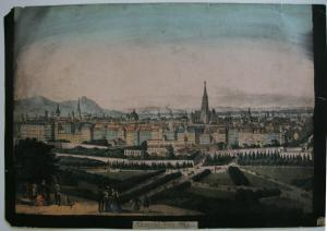 Wien Gesamtansicht Orig. Lithografie 1850 Zeichnung auf Rückseite Österreich