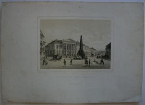 Karlsruhe Palais Markgrafen Wilhelm Max getönte Orig Lithografie G. Obach 1840