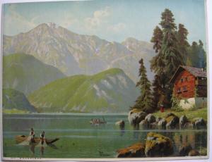 Kochelsee Oberbayern Alpensee Orig. Chromolithografie 1900 Robert Kämmerer
