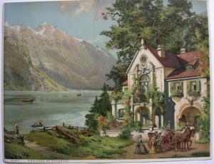 Theodor Guggenberger Königsee mit Watzmann Orig. Chromolithografie 1890