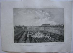 Paris Jardin du Palais Royal Orig Lithografie Benoist 1845 Vues de Paris