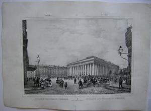 Paris Bourse et Tribunal de Commerce Orig Lithografie Benoist 1845 Vues de Paris