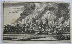 Durlach in Flammen Pfälzischer Erbfolgekrieg Orig Kupferstich 1750 Karlsruhe