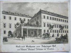 Zähringer Hof Baden Hotel-Folder 4 Lithografien Baden Württemberg um 1850