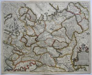 Russland Russici Moscoviae kolor Orig. Kupferstichkarte F. de Witt um 1650