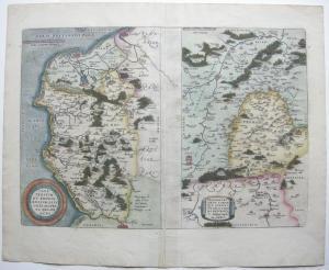 Calais Boulogne Picardie Frankreich France kolor Kupferstichkarte Ortelius 1570