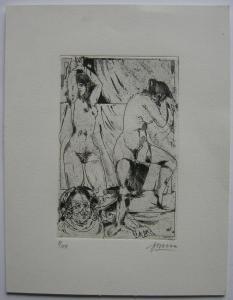 Arwed Gorella (1937-2002) Weibliche Akte Orig Radierung signiert 1967 Erotik