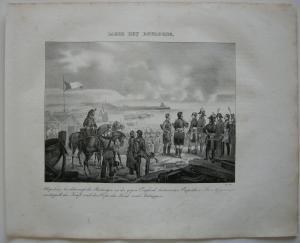 Napoleon Lager bei Boulogne  Orig Lithographie 1832 Napoleonische Kriege
