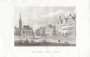 Der Römer in Frankfurt Orig Stahlstich 1860 Hessen Poppel Hildburghausen