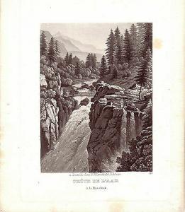 Chute de l'Aar a la Handeck Wasserfall Schweiz Kanton Bern Aquatinta 1850
