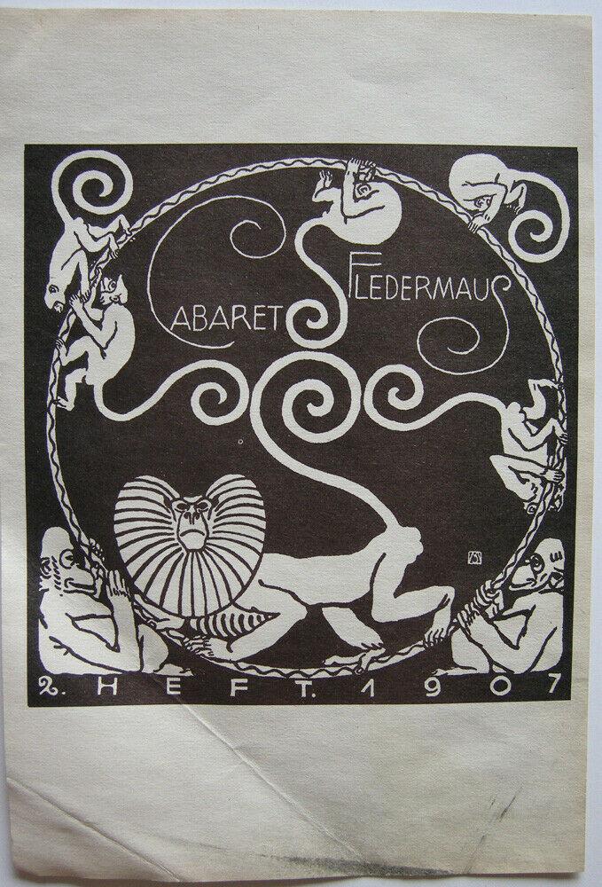 Koloman Moser (1868-1918) Cabaret Fledermaus Affenkarussell 1907 Lithografie 0