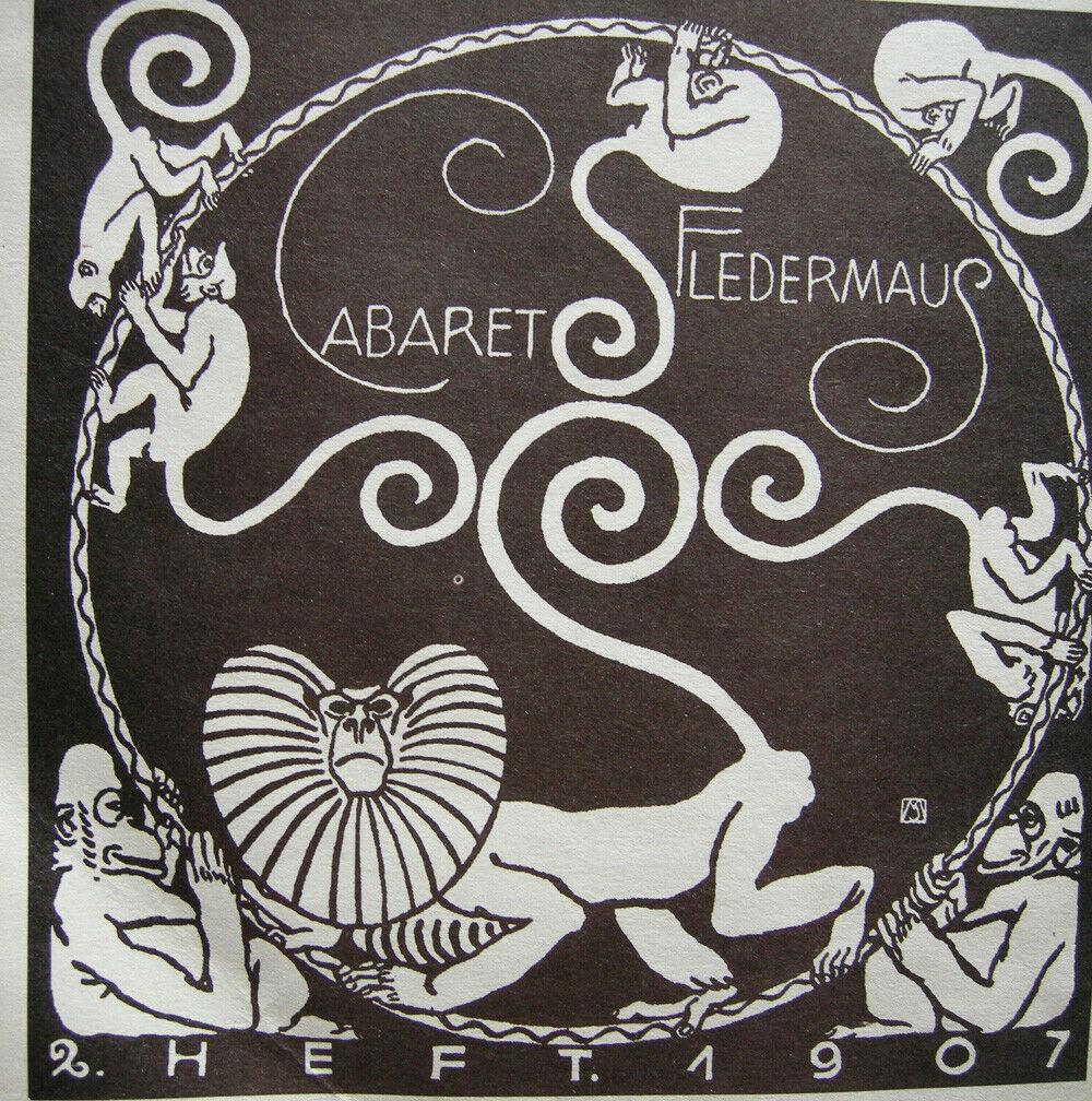 Koloman Moser (1868-1918) Cabaret Fledermaus Affenkarussell 1907 Lithografie 1