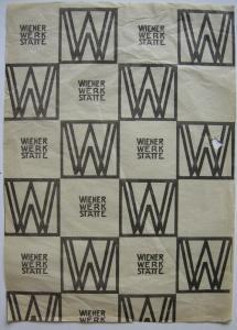 Wiener Werkstätte Einschlagpapier mit Logo Josef Hoffmann 1905 Klischeedruck