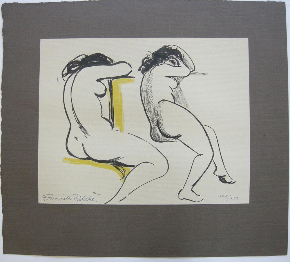Franziska Bilek (1906-1991) Zwei weibliche Akte Orig Farblithografie signiert 0