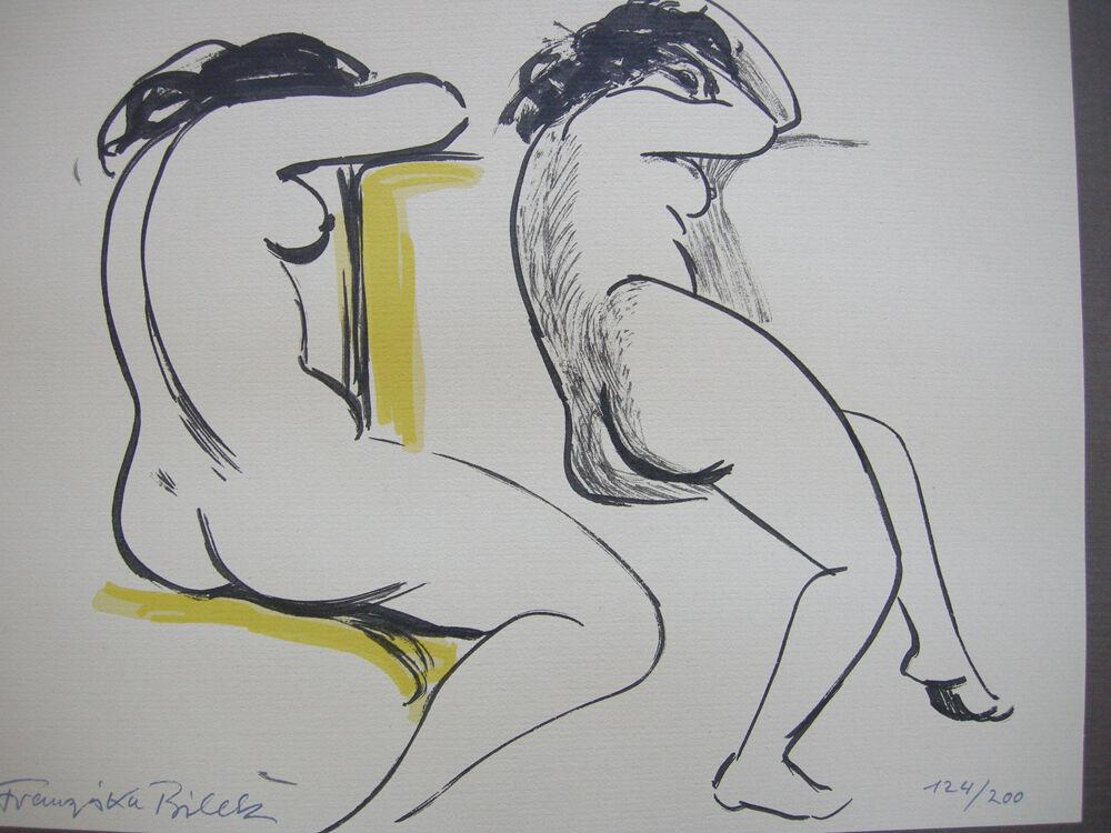 Franziska Bilek (1906-1991) Zwei weibliche Akte Orig Farblithografie signiert 1