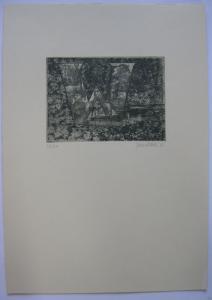 Fritz Janschka (1919) Buchstabe W Orig Radierung 1973 signiert datiert 18/60