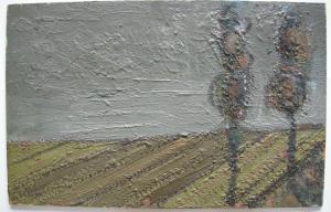 Jean Besnard (? - 1980) Pappeln auf Feld Öl auf Platte um 1960 nicht signiert