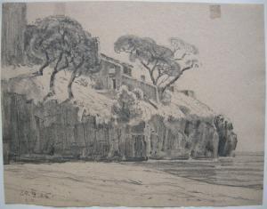 Amalfi Felsküste mit Haus Italia Orig Bleistiftzeichnung 1924 Monogrammist E. H.