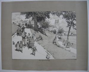 Paul Hey (1867-1952) Sonntagnachmittag Orig Lithografie 1900 steinsigniert
