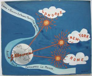Kor Postma (1903-1977) ecouter toutes les ondes Orig Gouache 1960 Publicité