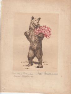 Richard Staudenmaier (1884-1954) Bär mit Rosenstrauß Orig Farbradierung 1924 sig