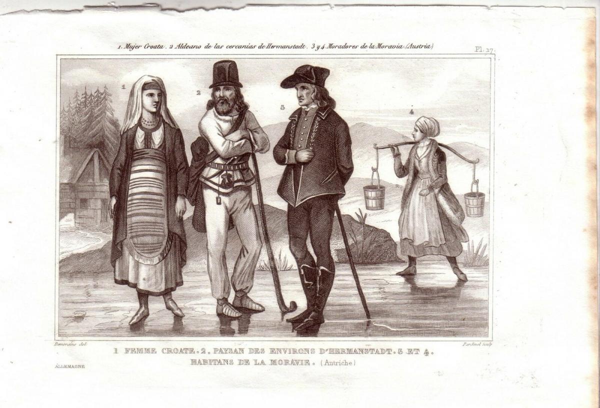 Kroatien Mähren Hermannstadt Trachten Kostüme Orig Stahlstich 1850 Pardinel 0
