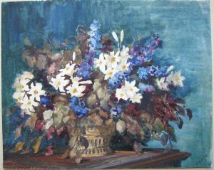 Helene von Schlögl (1896-1975) Blumenstilleben Orig Aquarell signiert 1960