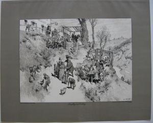Paul Hey (1867-1952) Ausflug im Frühling Orig Lithografie 1901 steinsigniert