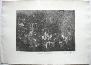 H. Rauh Wirtsgarten Orig Radierung 26/100 signiert 1970