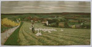 Paul Hey (1867-1952) Gänseliesl romant Landschaft Orig Farblithografie 1930
