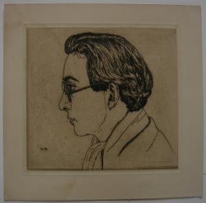 Egon Krause (XIX/XX. Jh.) Junger Mann mit Brille Orig. Radierung monogr 1925