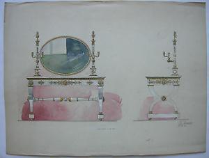 Fritz Linzer Orig Farbzeichnung Entwurf Rokoko Toilettentisch 1906 signiert