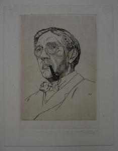Egon Krause (XIX/XX. Jh.) Herr mit Pfeife u Fliege Orig Radierung signiert 1927